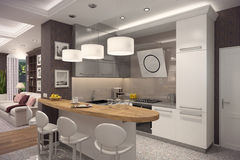 3D rendering of kitchen in classic appartment. 3D rendering of kitchen in modern style.The interior is decorated with wood Stock Image