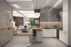 3D rendering of kitchen in classic appartment. 3D rendering of kitchen in modern style.The interior is decorated with wood Royalty Free Stock Images