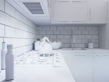 3d rendering kitchen decor. Interior design in a modern style Stock Photography