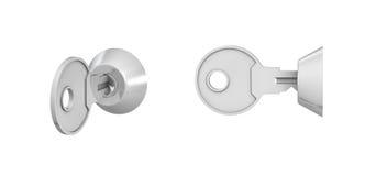 3d rendering 2 klucza keylock inside zmiany na białym tle Zdjęcia Royalty Free