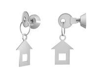 3d rendering 2 klucza z dołączać etykietkami wśrodku ich kędziorków na białym tle Fotografia Royalty Free