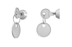 3d rendering klucze z dołączać puste miejsce etykietkami wśrodku ich kędziorków na białym tle Zdjęcie Royalty Free