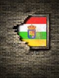 Old La Rioja flag in brick wall. 3d rendering of a La Rioja Spanish Community flag over a rusty metallic plate embedded on an old brick wall Royalty Free Stock Photography