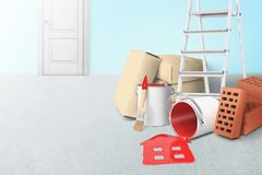 3d rendering of ladder, paper bundles, bricks and buckets of red paint, one bucket lying sidelong with red paint spilt. In the shape of a house on the floor royalty free illustration