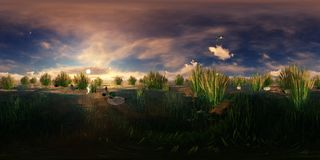 3d rendering of a lake with flying and swimming ducks Stock Photos