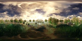 3d rendering of a lake with flying and swimming ducks Stock Images