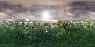 3d rendering of a lake with flying and swimming ducks Stock Photography