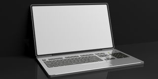 3d rendering laptop on black background Stock Image