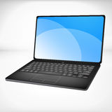 3d rendering of a laptop. Black 3d rendering of a laptop with blue graphics Royalty Free Stock Image