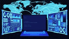 3D Rendering Laptop with Coding on screen and Futuristic HUD World map connection background in Coding connects the World Concept