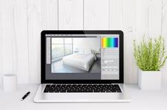 laptop on table interior design Stock Photos
