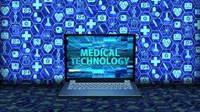 3D Rendering Laptop/Notebook on the floor with Medical Technology on the screen and icon set Background in blue color