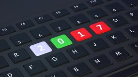 3D rendering of laptop's keyboard. With colorful 2017 keys Stock Photo