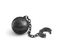 3d rendering of a large black ball and chain connected to an open cuff lying on white background. Open bounds. Breakthrough. Freedom of choice Royalty Free Stock Photography