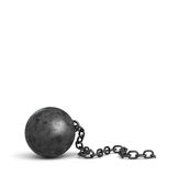 3d rendering of a large black iron ball lying down with a piece of its broken chain. Loss of restrictions. No limits ahead. Free person Stock Images