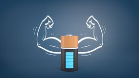 3d rendering of a large black and orange battery with full power indication stands inside a blackboard drawing of. Muscular arms. Life energy. Power and Royalty Free Stock Photos