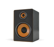 3d rendering of a large black stereo box with two round speakers on white background. Royalty Free Stock Photos