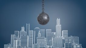 3d rendering of a large black wrecking ball hangs above a chalk drawing of a city district with many skyscrapers. Royalty Free Stock Images