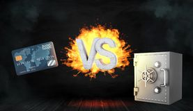3d rendering of large concrete letters VS on fire stand between a generic blue credit card and a metal bank safe box. Keeping money safe. Modern banking tools Royalty Free Stock Photo