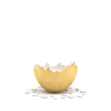 3d rendering of a large golden egg broken in half at the middle. Losing business. Loss of fortune. Reveal of secrets Royalty Free Stock Image
