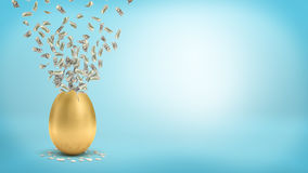 3d rendering of a large golden egg with a broken top that lets many dollar bills fly out. Spending spree. Cash flow. Wealth and prosperity Royalty Free Stock Image