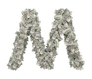 3d rendering of a large isolated letter M made of dollar banknotes on a white background. Money and wealth. Prosperity. Alphabetic sign Stock Photo