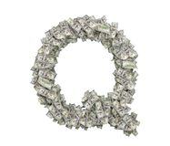 3d rendering of a large isolated letter Q made of dollar banknotes on a white background. Money and wealth. Prosperity. Alphabetic sign Royalty Free Stock Images