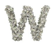 3d rendering of a large isolated letter W made of dollar banknotes on a white background. Money and wealth. Prosperity. Alphabetic sign Royalty Free Stock Photography