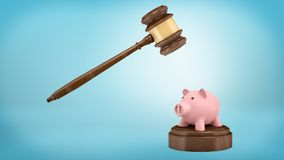 3d rendering of a large judge gavel ready to strike at a small piggy bank standing on a sound block. Business law. Legal prosecution. Money collection Stock Images