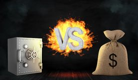 3d rendering of a large letters VS stand flaming between a metal bank safe and a large money bag. Stock Photography