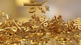 3D rendering of a large number of percent signs falling into a heap. A large percent sign among the small signs. 3D rendering of signs percent, falling into a Royalty Free Stock Image