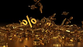 3D rendering of a large number of percent signs falling into a heap. A large percent sign among the small signs. 3D rendering of signs percent, falling into a royalty free illustration