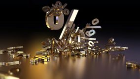 3D rendering of a large number of percent signs falling into a heap. A large percent sign among the small signs. 3D rendering of signs percent, falling into a stock illustration