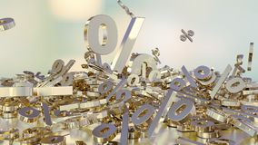 3D rendering of a large number of percent signs falling into a heap. A large percent sign among the small signs. 3D rendering of signs percent, falling into a vector illustration