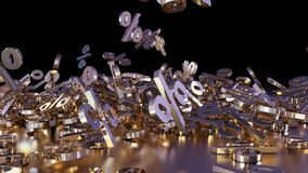 3D rendering of a large number of percent signs falling into a heap. 3D rendering of signs percent, falling into a heap. Volumetric signs with a reflective Stock Photos
