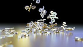 3D rendering of a large number of percent signs falling into a heap. 3D rendering of signs percent, falling into a heap. Volumetric signs with a reflective Stock Image