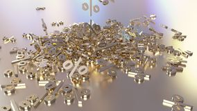 3D rendering of a large number of percent signs falling into a heap. 3D rendering of signs percent, falling into a heap. Volumetric signs with a reflective royalty free illustration