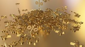 3D rendering of a large number of percent signs falling into a heap. 3D rendering of signs percent, falling into a heap. Volumetric signs with a reflective Stock Photography