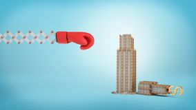 3d rendering of a large red boxing glove on a scissor arm near a small broken business building on a blue background. Business risks. Fall of enterprise Stock Image