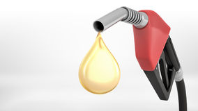 3d rendering of a large red gas nozzle in close view with a bright yellow oil drop falling out of it. Stock Photography