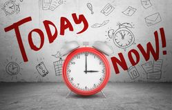 3d rendering of a large red ringing alarm clock stands on concrete background with words Today and Now. Royalty Free Stock Photo