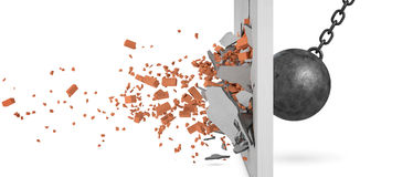 3d rendering of a large swinging wrecking ball crashing at a brick wall with pieces from the wall flying away in side. View. Demolition works. Destroy all Stock Images