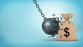 3d rendering of a large wrecking ball hitting a big hessian money bag and breaking itself. Money insurance. Crisis-proof investment. Protection from failure Stock Photography