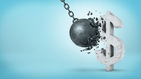 3d rendering of a large wrecking ball hitting a concrete USD sign and unable to break it on blue background. Foreign exchange. Stable investment. Financial vector illustration