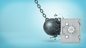 3d rendering of a large wrecking ball hitting a silver old-fashioned safe box and crashing itself in many pieces. Safety and insurance. Best money protection Stock Photo