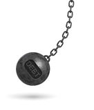 3d rendering of a large wrecking ball with a lettering DEBT swinging on a chain on white background. Budget deficit. Counting losses. Business liquidation Stock Photos