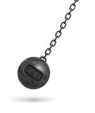 3d rendering of a large wrecking ball with a lettering DEBT swinging on a chain on white background. Budget deficit. Counting losses. Business liquidation Royalty Free Stock Photo