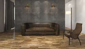 3d rendering leather sofa with parquet floor. 3D Interior rendering by 3ds max Royalty Free Stock Photo