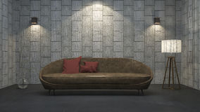3d rendering leather sofa with red pillow in concrete texture room. 3d rendering by 3dsmax program Royalty Free Stock Image