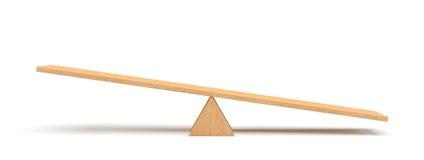 3d rendering lekki drewniany seesaw z prawą stroną opiera ziemia na białym tle Zdjęcie Royalty Free